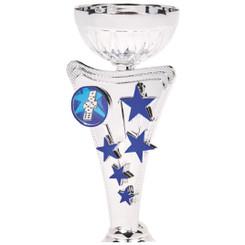 Silver/Blue Star Trophy Cup - 19cm