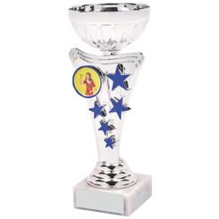 Silver/Blue Star Trophy Cup - 17.5cm