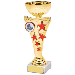 Gold/Red Star Trophy Cup - 19cm