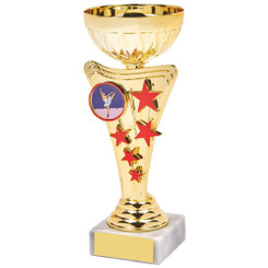 Gold/Red Star Trophy Cup - 17.5cm