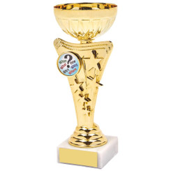 Shiny Gold Star Trophy Cup - 17.5cm