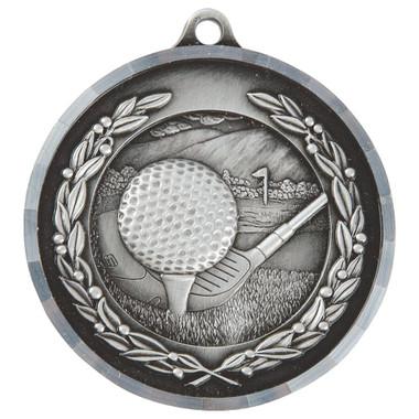 Diamond Edged Golf Medal - Silver