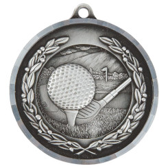 Diamond Edged Golf Medal - Silver