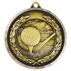 Diamond Edged Golf Medal - Gold