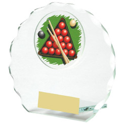 Circular Jade Glass Snooker Award - 10cm