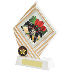 White/Gold Darts Diamond Resin Award - 19cm