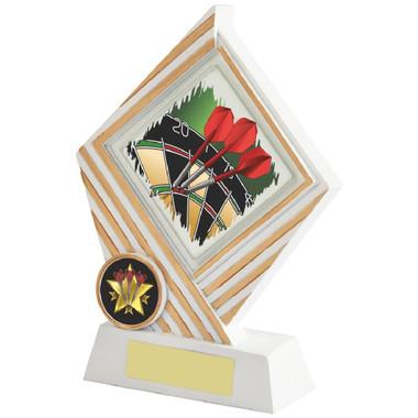 White/Gold Darts Diamond Resin Award - 17cm