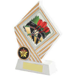 White/Gold Darts Diamond Resin Award - 17cm