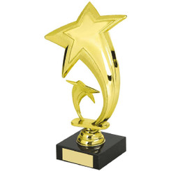 "Gold Star Trophy on Black Base - 20cm (8"")"