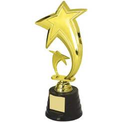 "Gold Star Trophy on Black Base - 23cm (9"")"