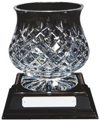 "Crystal Tulip Bowl on Wood Base - 20cm (8"")"