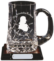 Crystal 1pt Tankard on Wood Base - Clear