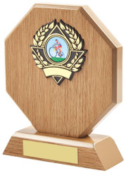 "Light Wood Octagon Sports Award - 16cm (6 1/4"")"