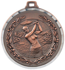 50mm Diamond Edged Golf (F) Medal - TW18-169-MD820B
