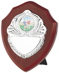 "Traditional Wooden Shield Award with Chrome Front - 13cm (5"")"