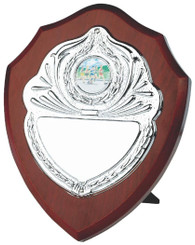 "Traditional Wooden Shield Award with Chrome Front - 18cm (7"")"