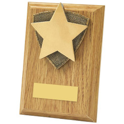 "Light Oak Star Wood Plaque Award - 13cm (5"")"