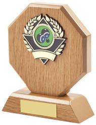 "Light Wood Octagon Sports Award - 14cm (5 1/2"")"