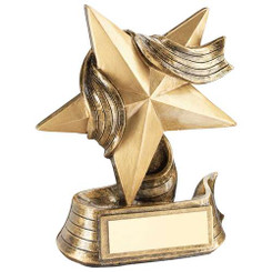 Brz/Gold Star And Ribbon Award Trophy -      4In