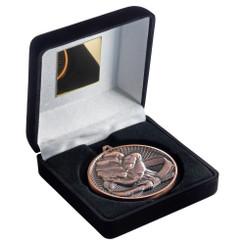 Black Velvet Box And 60Mm Medal Martial Arts Trophy - Bronze - 4In