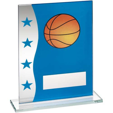 Blue/Silver Printed Glass Plaque With Basketball Image Trophy - 8In