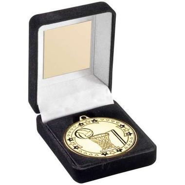 Black Velvet Medal Box And 50Mm Medal Netball Trophy - Silver - 3.5In