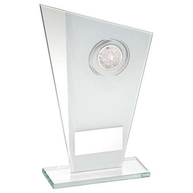 White/Silver Printed Glass Plaque With Dog Insert Trophy - 8In