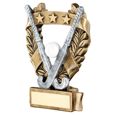 Brz/Pew/White/Gold Hockey 3 Star Wreath Award Trophy - 5In