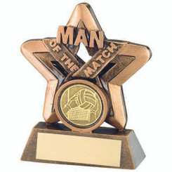 Brz/Gold Man Of The Match Mini Star With Gaelic Football Insert Trophy - 3.75In