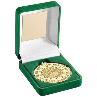 """Green Velvet Box And 50Mm 'M.O.T.M' Medal With Gaelic  Insert Trophy - Gold 3.5"""""""