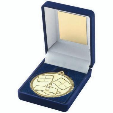 Blue Velvet Box And 50Mm Medal Referee Trophy - Gold - 3.5In