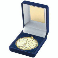 Blue Velvet Box And 50Mm Medal Referee Trophy - Gold - 3.5In
