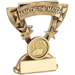 Brz/Gold Man Of The Match Mini Cup With Gaelic Football Insert Trophy - 3.75In