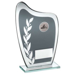 Grey/Silver Glass Plaque With Go Kart Insert Trophy - 6.5In