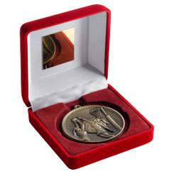 Red Velvet Box And 60Mm Medal Netball Trophy - Antique Gold - 4In