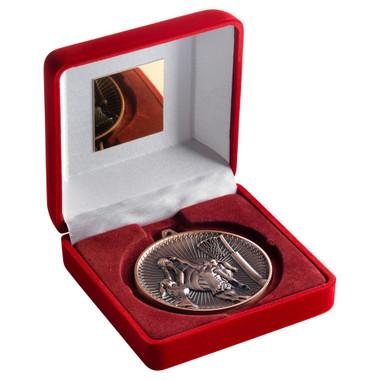 Red Velvet Box And 60Mm Medal Netball Trophy - Bronze - 4In