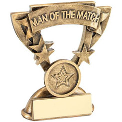 Brz/Gold Man Of The Match Mini Cup Trophy (1In Centre) - 3.75In