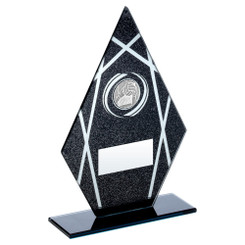 Black/Silver Printed Glass Diamond With Gaelic Football Insert Trophy - 8In