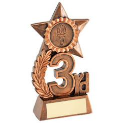 Leaf And Star Award Trophy (1In Centre) - Bronze 3Rd - 4.75In