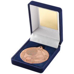 Blue Velvet Box And 50Mm Medal Badminton Trophy - Bronze - 3.5In