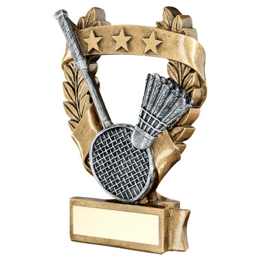 Brz/Pew/Gold Badminton 3 Star Wreath Award Trophy - 6.25In
