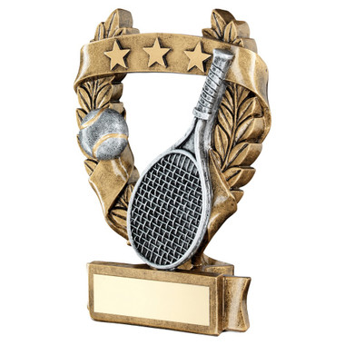 Brz/Pew/Gold Tennis 3 Star Wreath Award Trophy - 5In