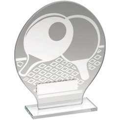Jade Glass Round Plaque With Silver Table Tennis Design Trophy - 7.25In
