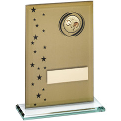Gold/Black Printed Glass Rectangle With Table Tennis Insert Trophy - 7.5In