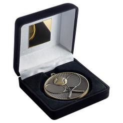 Black Velvet Box And 60Mm Medal Tennis Trophy - Antique Silver - 4In