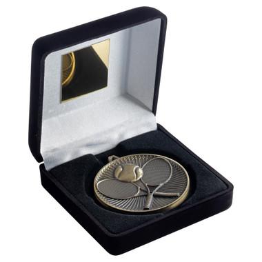 Black Velvet Box And 60Mm Medal Tennis Trophy - Bronze - 4In