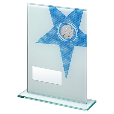 White/Blue Printed Glass Rectangle With Tennis Insert Trophy - 7.25In