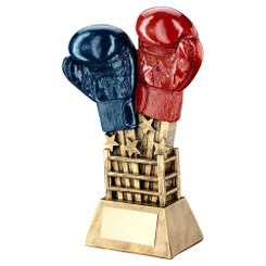 Brz/Gold/Red/Blue Boxing Gloves Star Burst With Ring Base Trophy - 6.5In