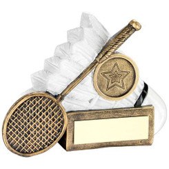 Brz/White Badminton Shuttle And Racket Chunky Flatback Trophy (1In Cen) - 3.25In