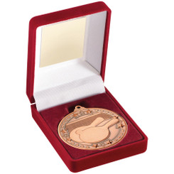 Red Velvet Box And 50Mm Medal Table Tennis Trophy - Bronze - 3.5In
